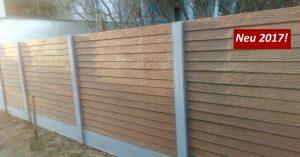 Hier ist unser Betonzaun Holzoptik zu sehen.
